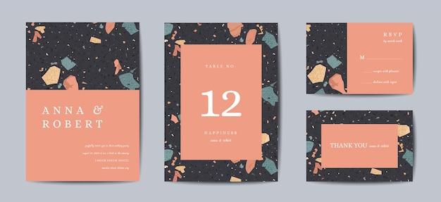 Set di carte di invito a nozze terrazzo. modello di disegno vintage astratto geometrico di lusso per saluti, banner, poster con struttura di marmo. salva la data, rispondi. illustrazione vettoriale