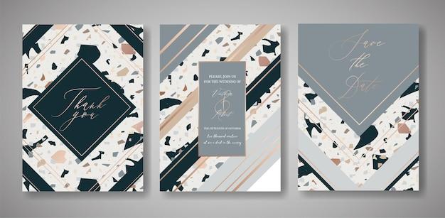 Set di carte di invito a nozze terrazzo. modello di disegno geometrico di lusso per saluti, banner, poster con struttura di marmo. salva la data, rispondi. illustrazione vettoriale