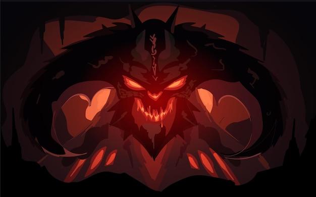 Un terribile demone del fuoco nell'oscurità