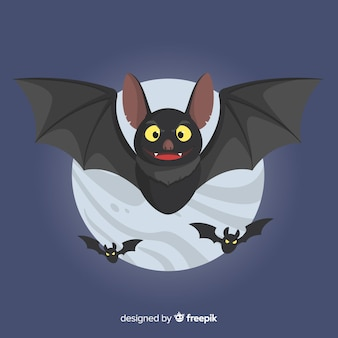 Fantastico pipistrello di halloween con design piatto