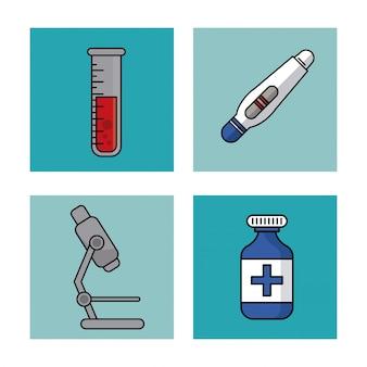 Provetta e test di gravidanza e microscopio e bottiglia di medicina