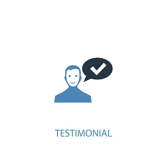 Concetto di testimonianza 2 icona colorata. illustrazione semplice dell'elemento blu. disegno di simbolo del concetto testimoniale. può essere utilizzato per ui/ux mobile e web