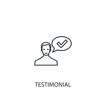 Icona della linea di concetto di testimonianza. illustrazione semplice dell'elemento. disegno di simbolo di contorno del concetto testimoniale. può essere utilizzato per ui/ux mobile e web