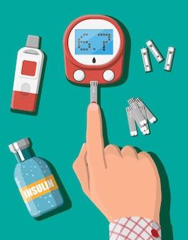 Test della glicemia concetto. glucometro, strisce reattive in mano. apparecchiature di prova e medicina. diagnostica sanitaria, ospedaliera e medica. servizi di urgenza. illustrazione vettoriale piatta