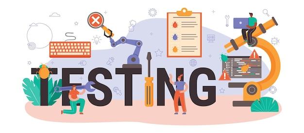 Testare l'intestazione tipografica. codice dell'applicazione o del sito web