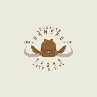 Texas longhorn, country western bull bovini etichetta vintage logo design