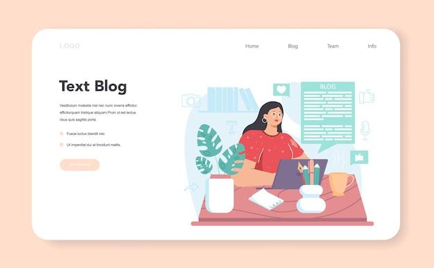 Banner web per blog di testo o pagina di destinazione per la condivisione di contenuti multimediali in internet