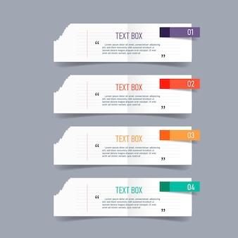 Progettazione di casella di testo con infografica di documenti di nota