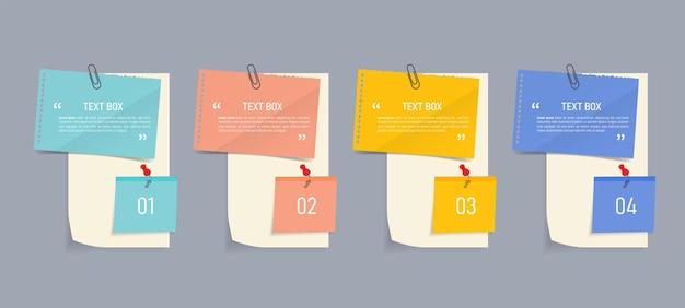 Progettazione di casella di testo con infografica di documenti di nota Vettore Premium