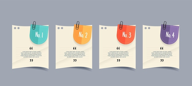 Design della casella di testo con infografica di documenti per appunti