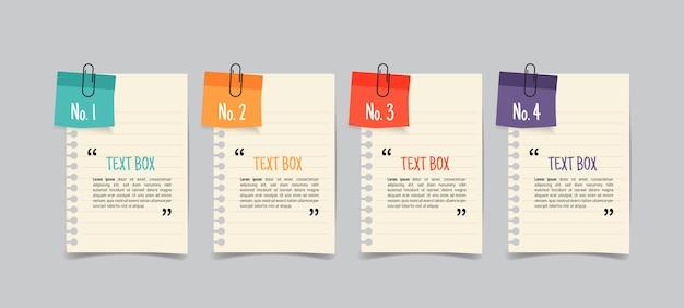 Design della casella di testo con mockup di documenti per appunti.
