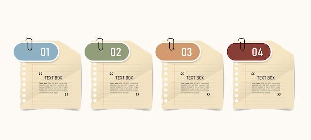 Design della casella di testo con modelli di documenti per appunti