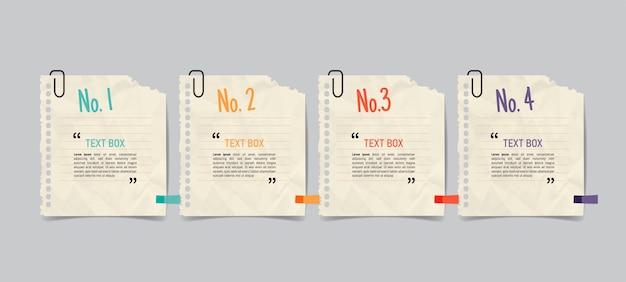 Design della casella di testo con documenti per appunti