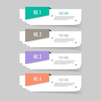 Design della casella di testo con fogli di nota