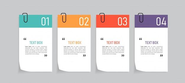 Design della casella di testo con documenti di nota.