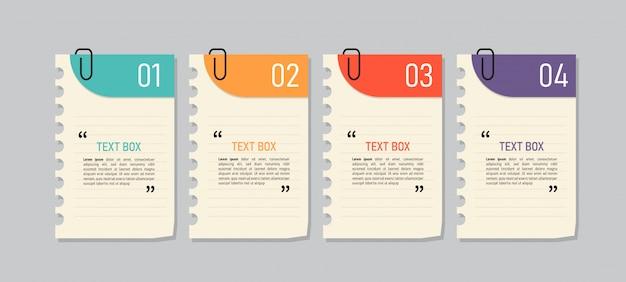 Design della casella di testo con documenti per appunti.