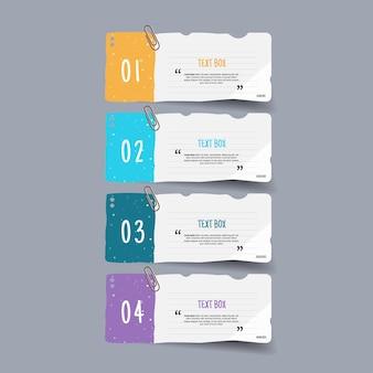 Design della casella di testo con carte da lettere