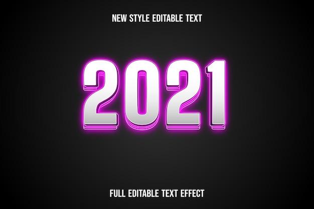 Effetto testo 3d 2021 colore bianco e rosa