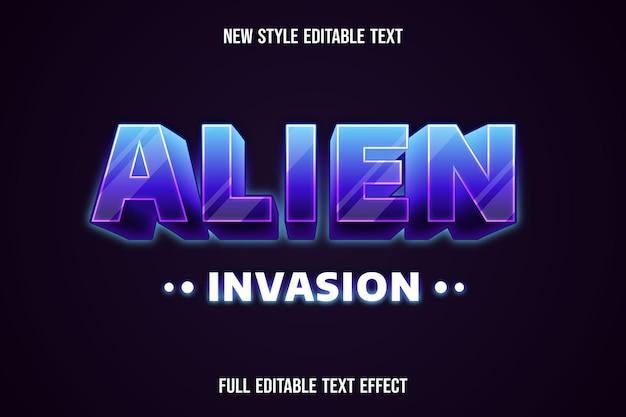Effetto testo 3d invasione aliena colore viola e bianco