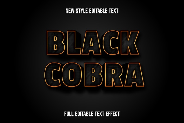Effetto testo 3d cobra nero colore nero e sfumatura oro
