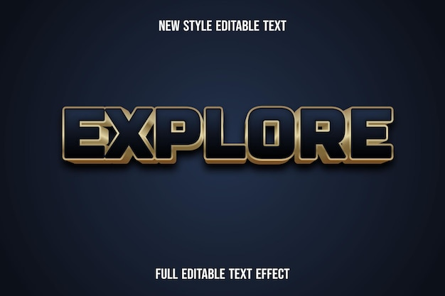 Effetto testo 3d esplora il colore blu e oro sfumato