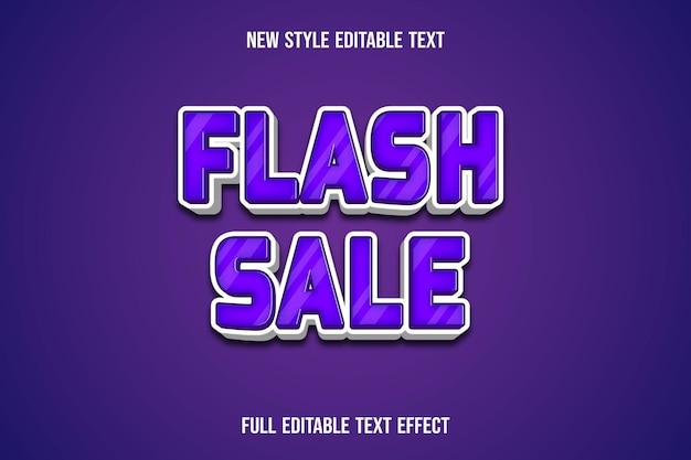 .effetto di testo 3d vendita flash colore viola e gradiente bianco