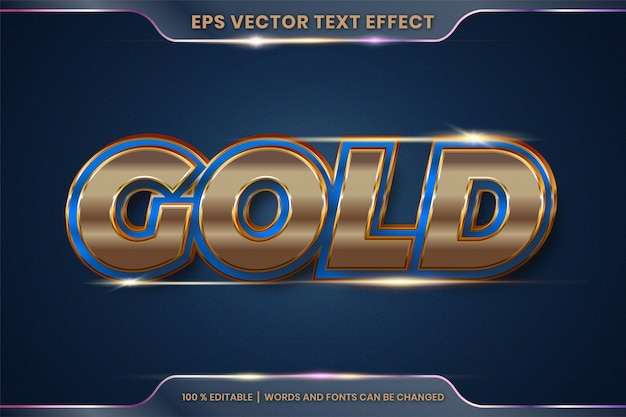 Effetto testo in 3d parole d'oro, stili di carattere tema modificabile in metallo oro e concetto di colore blu