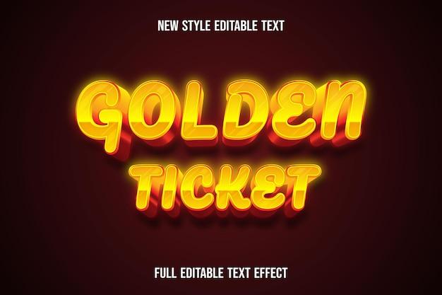 Effetto testo 3d biglietto d'oro colore giallo e arancio