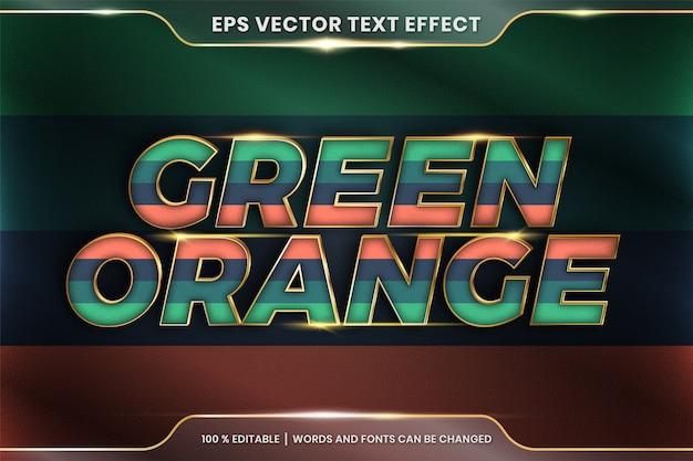 Effetto di testo in 3d verde arancione parole, tema di testo effetto modificabile pastello colorato con concetto di colore oro metallo