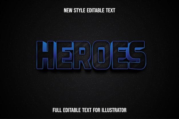 Gli eroi 3d di effetto testo colorano la sfumatura in bianco e nero