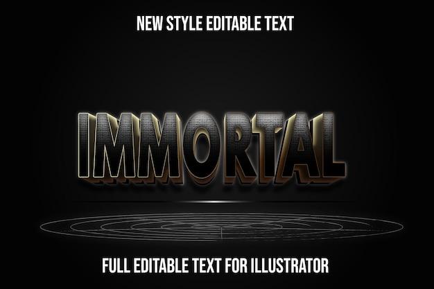 Effetto testo 3d immortale colore nero e marrone sfumato