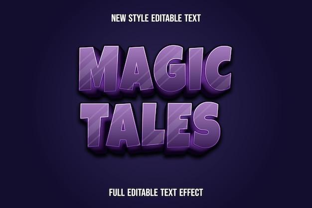 Effetto testo racconti magici 3d colore viola e sfumatura nera