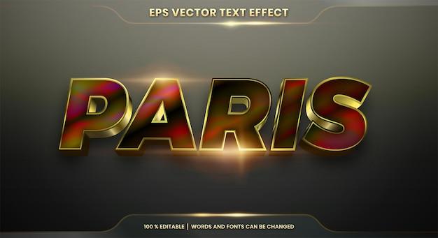 Effetto testo in 3d stili di parigi modificabili realistici in metallo sfumato oro e combinazione colorata