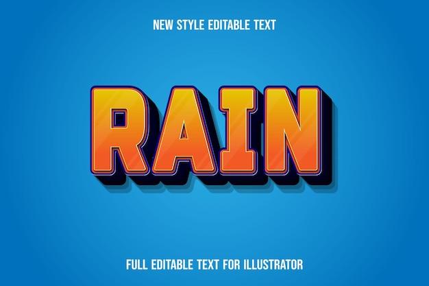 Effetto testo 3d pioggia di colore arancione e sfumatura blu