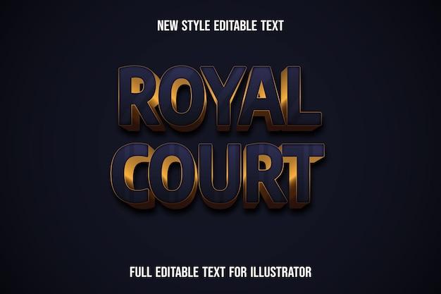 Effetto testo 3d royal court colore blu e sfumatura dorata