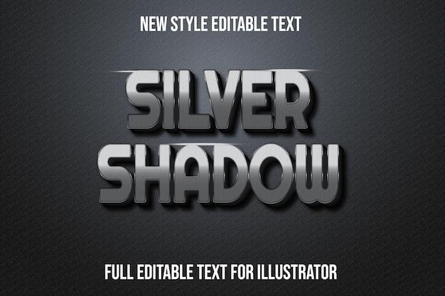 Effetto testo 3d argento ombra colore argento e sfumatura nera