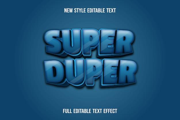 Effetto testo 3d super duper colore blu e nero sfumato