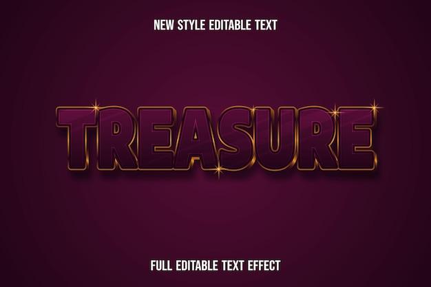Effetto testo 3d tesoro colore rosso scuro e oro