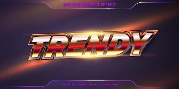 Effetto di testo in 3d parole metalliche alla moda, tema stili di carattere modificabile realistico gradiente di metallo con concetto di luce svasata