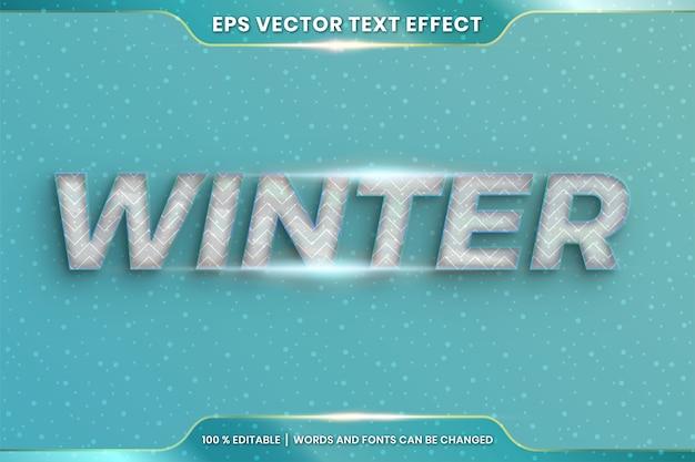 Effetto di testo nelle parole di inverno 3d, combinazione di colori di cristallo realistico modificabile del tema di stili di carattere con il concetto della luce del chiarore