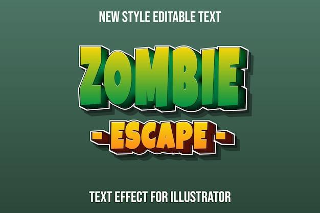Effetto testo 3d zombie fuga colore verde e giallo sfumato