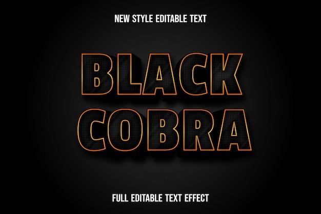 Cobra nero effetto testo su sfumatura nera e oro