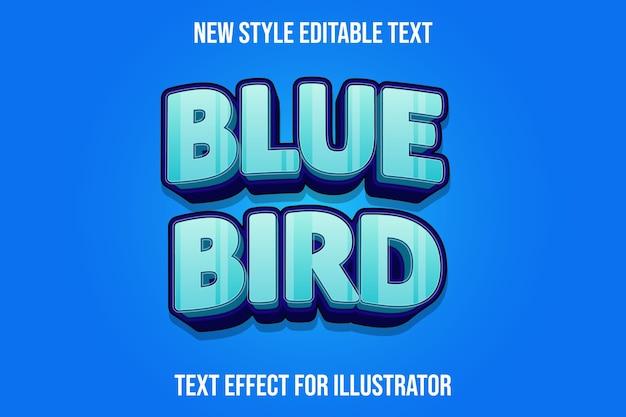 Effetto testo uccello blu colore azzurro e sfumatura viola