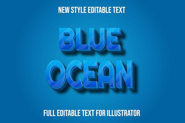 Effetto testo blu oceano colore blu sfumato