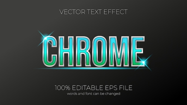 Effetto del testo dell'illustrazione vettoriale cromata