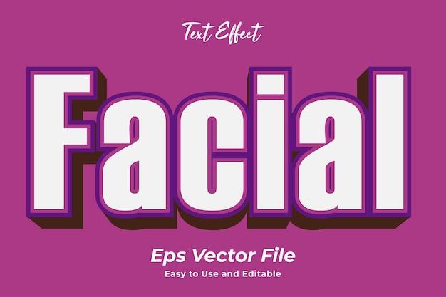 Effetto testo facciale facile da usare e modificabile vettore premium