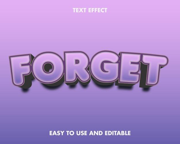 Effetto testo - dimentica. stile carattere modificabile.