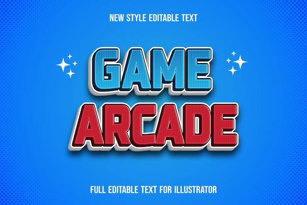 Gioco di effetti di testo arcade di colore blu e rosso sfumato