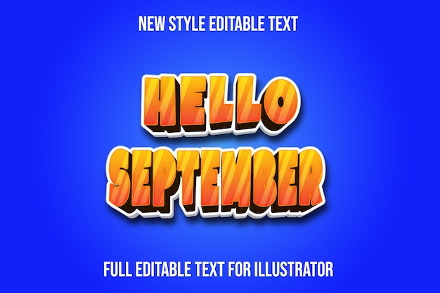 Effetto testo ciao settembre colore arancione e bianco sfumato
