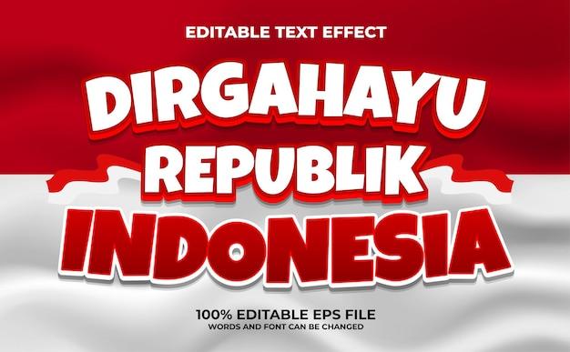 Sfondo di celebrazione del giorno dell'indipendenza indonesiana effetto testo vettore premium